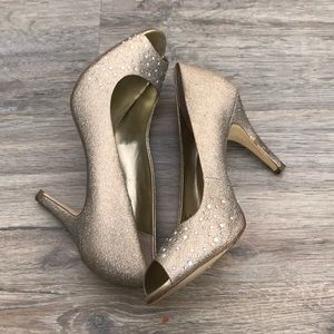 Gold sparkly low inch heels